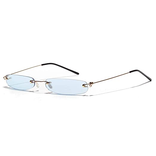 0e931023d3 Narrow Rectangle Sunglasses Women Tiny Rimless Sun Glasses For Men  Frameless (clear blue)