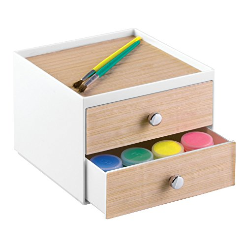 InterDesign RealWood Cosmetic Organizer for Vanity Cabinet to Hold Makeup, Beauty Products - 2 Drawers, White/Light Wood Finish by InterDesign (Image #5)