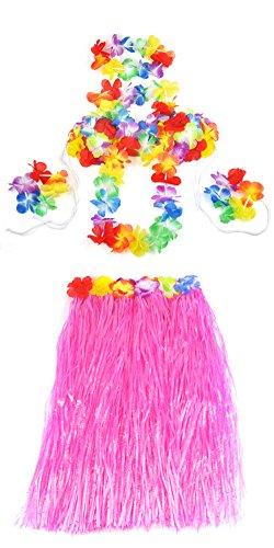 Topro Hawaiian Grass Skirt Flower Hula Lei Garland Fancy Dress Costume 5pcs Set Color Pink
