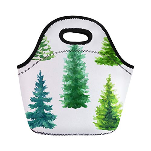 Semtomn Lunch Bags Blue Evergreen Trees Clip Christmas Fir Nature Conifer Rural Neoprene Lunch Bag Lunchbox Tote Bag Portable Picnic Bag Cooler Bag