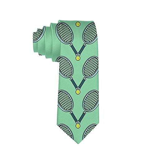 Men's Tennis Ball and Racket Polyester Silk Casual Gentleman Tie Necktie Gift-One Size