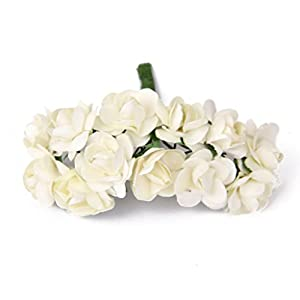 144pcs Artificial Paper Rose Flower Buds Mini Bouquet Party Decor- Ivory 1