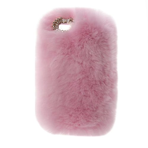 iPod Touch 5 6 Case, QKKE Cute Luxury Winter Soft Warm Faux Rabbit Fur Fuzzy Plush with Crystal Cute Bowknot Protective Back Cover for Touch 5 and Touch 6 (Pink)