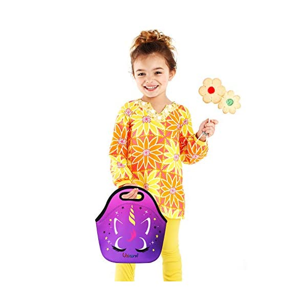 Cute Unicorn Lunch Bag for Kids, Waterproof Insulated Neoprene Lunch Tote with Zipper for School Work Outdoor (Purple002… 15