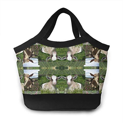 JHNDKJS Goat Kid Farm Barnyard Animal Fabric Lunch Bag Insulated Lunch Box Cooler Bag for Women Men Adults - Barnyard Lunch