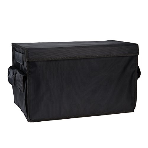Autvivid Trunk Organizer Cargo Storage Waterproof Heavy Duty Storage Bin with 4 Side Pockets Oxford Cloth Caddy Storage for SUV Car Truck Travel Vocation Trip Camping Household (Black)