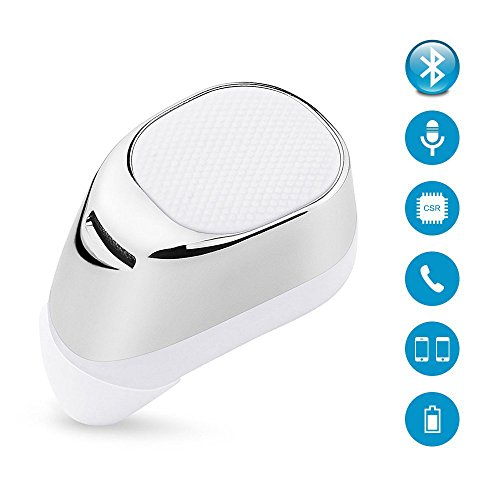 Bluetooth Headset,Mini Invisible Earpiece In Ear V4.1 Stereo Wireless Bluetooth Car Earbud Headphone Earphone with Mic Hands Free Calls and Noise Cancellation for iPhone Samsung LG HTC iPad (White)