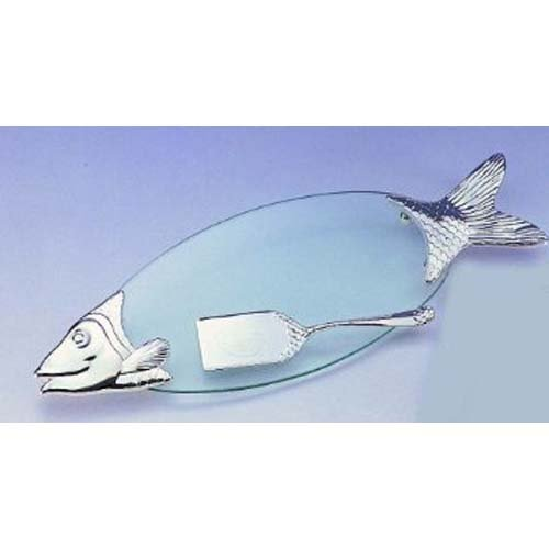 FISH TRAY WITH SERVER - GLASS AND SILVER FISH TRAY WITH SERVER