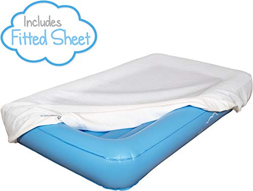 Air Mattress Toddler Inflatable Travel Bed with Safety Rail, Free Pump and Bed Sheet | Fits Children who Sleep in a Standard ()