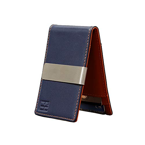 F&H Minimalist Slim Leather Wallet Money Clip Holds 8 Cards (Navy/Rust)