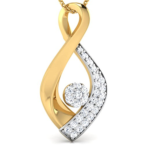 14 K Or blanc 0,12 CT TW Round-cut-diamond (IJ | SI) Pendentif