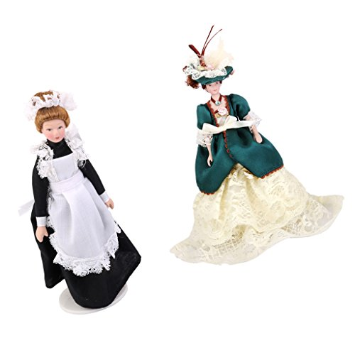 MagiDeal 1:12 Dollhouse Miniature Porcelain Dolls Victorian Lady & Maid Servant with White Display Stand in Beautiful Dress and Hat Bedroom Decoration