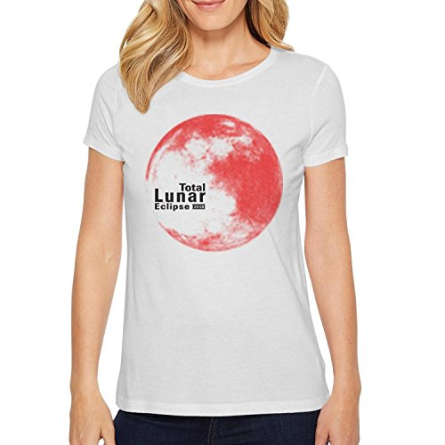 (HGTYUS Womens Ladies White t Shirt Lunar Eclipse 2018 O-Neck Short Sleeve Cotton )