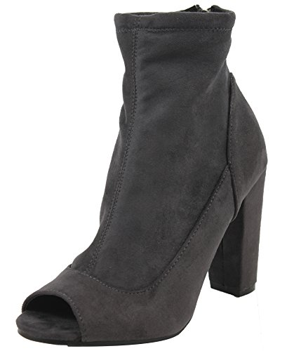 Bamboo Women's Stretchy Faux Suede Peep Toe Wrap Chunky Heel Ankle Bootie