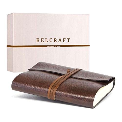 Tivoli mittelgroßes Notizbuch aus recyceltem Leder, Handgearbeitet in klassischem Italienischem Stil, Geschenkschachtel inklusive, Tagebuch (12x17 cm) Braun