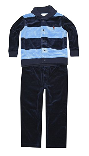 Ralph Lauren Baby Boys' Striped Velour Set (18 Months, Northern Sky Multi)