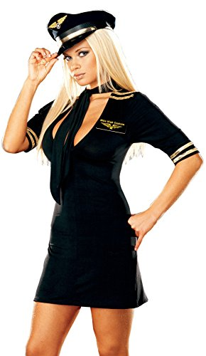 GTH Women's Mile High Captain Microfiber Pilot Airline Dress Sexy Costume, L (10-14)