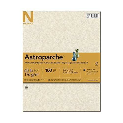 Wausau Astroparche Specialty Cardstock, 8.5 X 11 Inches, Natural, 100 Count (27427) by Neenah