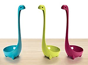 Richucool Nessie Soup Ladle Set Of 3,Stands Upright Cookware Safe Kitchen Utensil Cookware Green,Blue and Red