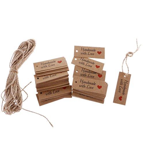 MagiDeal 100pcs Etiquetas de Papel de Kraft Hecho A Mano de Boda Etiquetas de Regalo de Preico Impreso con Corazón con...