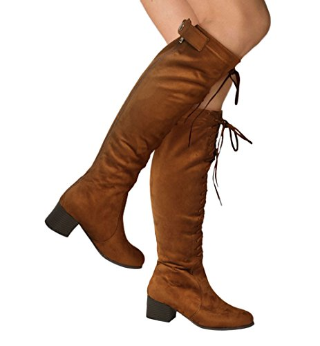 Front Lace Ankle Boot - Womens Faux Suede Chunky Thigh High Mid Block Heel Boots Ankle Front Lace Back Zip Popper Button Closed Shoes_XT91_Camel_6