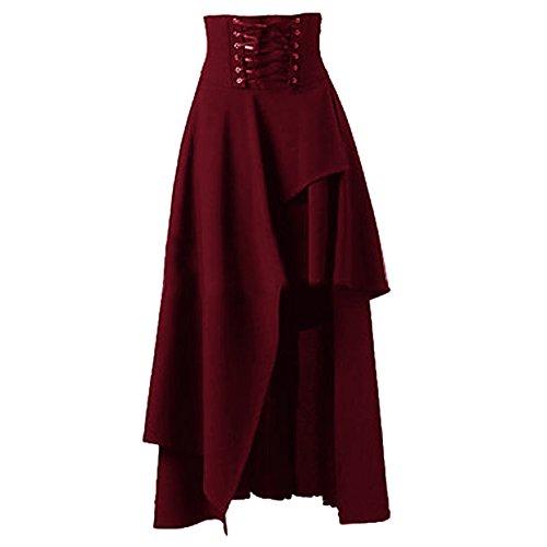 Sfit Femme Jupe Robe Gothique Lolita Robe de Soire Robe Longue Bande Irrgulire Bordeaux