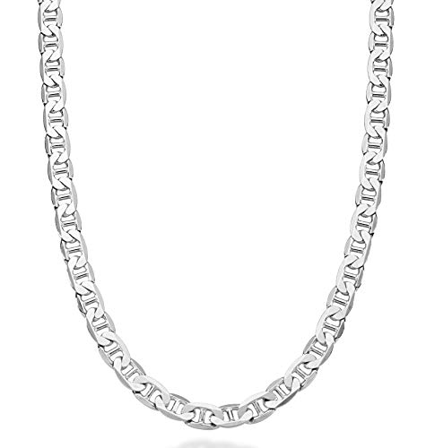 MiaBella Solid 925 Sterling Silver Italian 6mm Diamond-Cut Flat Mariner Link Necklace Chain for Men 16-30 Inches Made in Italy ()