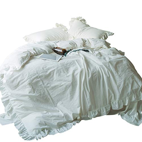 - SUSYBAO 3 Pieces Vintage Ruffle Duvet Cover Set 100% Washed Cotton Queen Size Off White Rural Shabby Chic Bedding Set with Zipper Ties 1 Lace Duvet Cover 2 Pillow Shams Luxury Quality Soft Comfortable