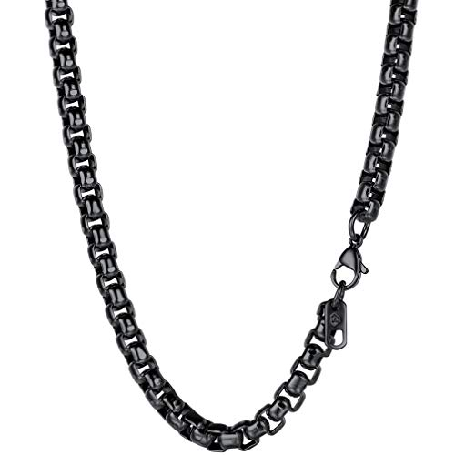 PROSTEEL 6mm Black Square Box Chain DIY Metal Cord Men/Women Jewelry Goth Punk Layering Chain Layered Necklace,24''