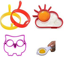 Breakfast Reusable Silicone Egg and Pancake Molds | 5 Piece Set 104 Rise and shine with this Breakfast Reusable Silicone Egg and Pancake Molds | 5 Piece Set will add fun to your breakfast! You and your loved ones will love creating a meal together with these fun reusable molds. These silicon forms are not only adorable, but they're also really easy to use. Simply pour the egg into the circle -- the egg-yolk stays in the ring and the egg whites to fill the rest of the silicon mould. In a short while you will have yourself a perfectly cheery and nutritious creation!