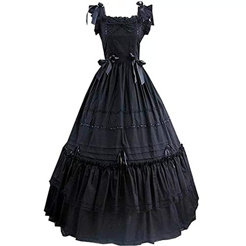 I-Youth Women's Short Sleeve Ruffled Lolita Dress Wedding Party Dress (Customization: Tell us Your Measurements, 2 Black) ()