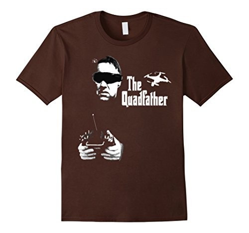 41Ou8YKLGJL Mens The Quadfather Funny Drone Quadcopter Father's Day T-Shirt Large Brown