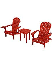 WUnlimited SW2101RD-CH2ET Bistro Set Adirondack Chairs, Red
