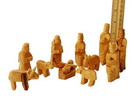 Medium Olive Wood Nativity Set 12 pcs with 3-D Animals
