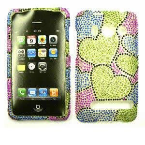 tal Diamond / Rhinestone / Bling Two Green Hearts HARD PROTECTOR COVER CASE / SNAP ON PERFECT FIT CASE (Htc Evo 4g Crystal)