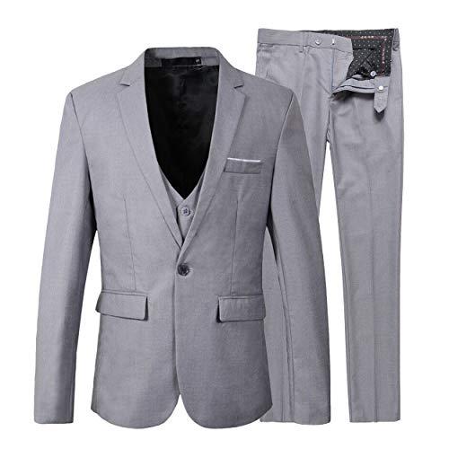 Beninos Men's Slim Fit Suit Blazer Jacket Tux Vest Pants 3 Pieces Suit Set (B305 Light Grey, -
