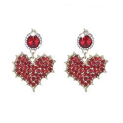 Women's Rhinestone Crystal Heart Dangle Earrings