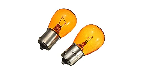 4 x of 12v 21w W21W 581 Amber Offset Pins Indicator Car Bulbs Long Life BAU15s