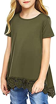 Arshiner Girls Casual Tunic Tops Short/Long Sleeve Loose Soft Blouse T-Shirt for 4-12 Years