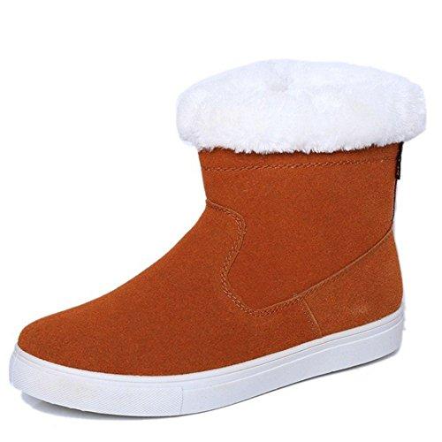 Hiver Chaudes Zip Bottes Les Cheville Coolcept Neige Jaune Fermeture Snowboots Femmes Mode qqHfAw