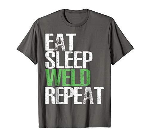 Mens Eat Sleep Weld Repeat Shirt Cool Welding Gift TShirt 3XL Asphalt