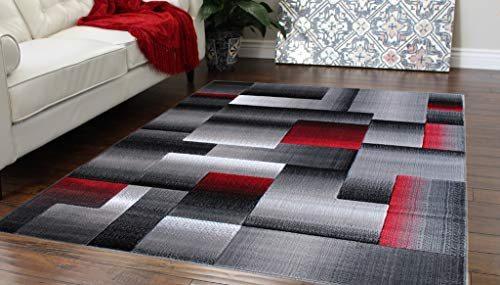 (Masada Rugs, Modern Contemporary Area Rug, Red Grey Black (8 Feet X 10 Feet) )