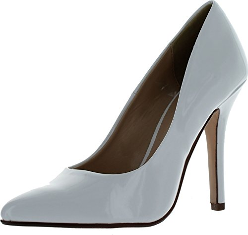 Delicious Womens Date-H Pointed Toe High Heel Pumps,White Patent,9
