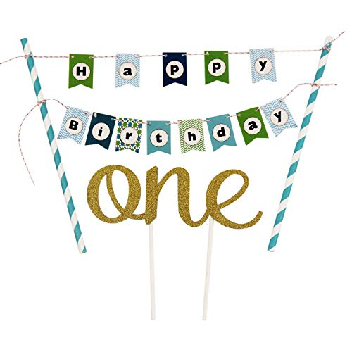 KUNGYO One 1ST Happy Birthday Cake Bunting Banner Small Blue Pennant Flags and Golden One Cake Topper