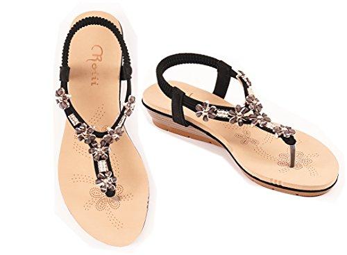 Roiii Sandali Flops Diamante Toe Nero Vetro Jelly Taglia Donna Post Beach Flip Summer Scarpe 0rtq0Zw