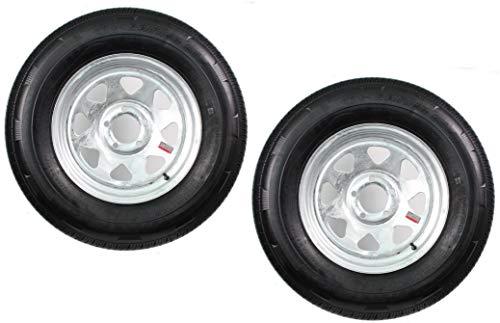 2-Pack Radial Trailer Tire On Rim ST205/75R15 205/75-15 5 Lug Galvanized Spoke