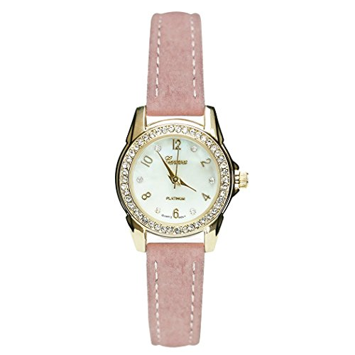 Rosemarie Collections Women's Rhinestone and Mother of Pearl Geneva Fashion Watch with Blush Band - Mens Geneva Collection