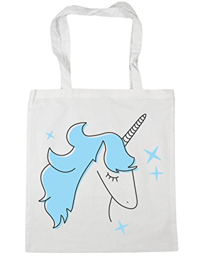 HippoWarehouse Blue Star Unicorn Tote Shopping Gym Beach Bag 42cm x38cm, 10 litres White