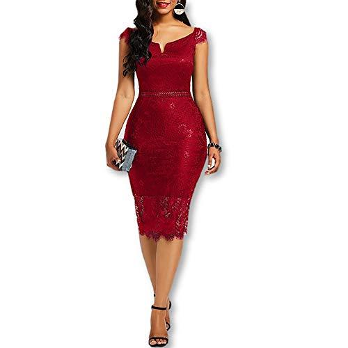 Vestidos De Mujer Ropa De Moda para Fiesta y Noche Elegante Formales Casuales Encaje Rojos Azul (S, Red)