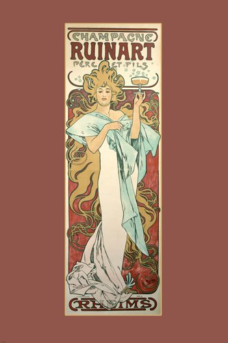 Price comparison product image VINTAGE FRENCH ALPHONSE MUCHA AD FOR RUINART CHAMPAGNE 20's woman 24X36